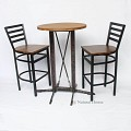 <b></b> Wooden Bar Iron Stripe Chair (Black)