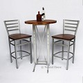 <b></b> Wooden Bar Iron Stripe Chair (Silver)