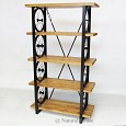 <b>NH16.FRN.001</b> Wheel Black Metal Rack, Wood Shelves
