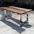 <b></b> Dining Table WD Comb Glass Stand Stainlist