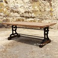 <b></b> Dinning Table Teak Wood Rustic Top with Iron Mechi