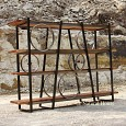 <b></b> Wheel Black Metal Rack, Wood 4 Shelves